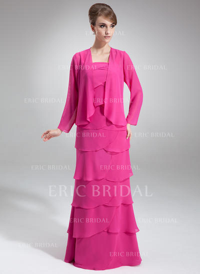 A-Line/Princess Chiffon Sleeveless Square Neckline Floor-Length Zipper Up Mother of the Bride Dresses (008211028)