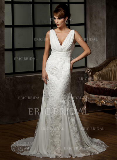 Trumpet/Mermaid Sweetheart Court Train Wedding Dresses With Ruffle (002000583)