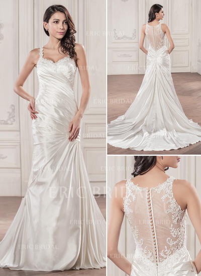 Trumpet/Mermaid Sweetheart Chapel Train Wedding Dresses With Ruffle Beading Appliques Lace Sequins (002210597)