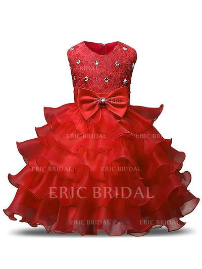 Ball Gown Scoop Neck Tea-length With Ruffles/Sash/Beading/Bow(s) Organza Flower Girl Dresses (010211831)