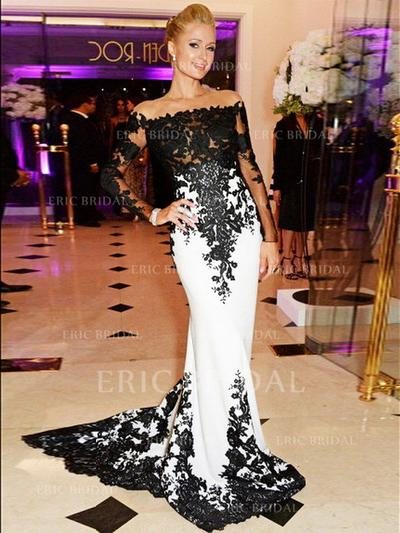 Trumpet/Mermaid Scoop Neck Sweep Train Prom Dresses With Appliques Lace (018210214)