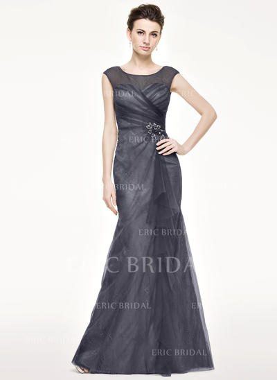 Trumpet/Mermaid Tulle Lace Sleeveless Scoop Neck Floor-Length Zipper Up Mother of the Bride Dresses (008211121)