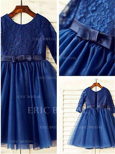 A-Line/Princess Scoop Neck Tea-length With Bow(s) Tulle/Lace Flower Girl Dresses (010211887)