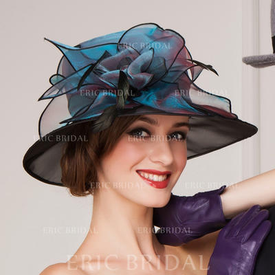 Organza With Feather Bowler/Cloche Hat Beautiful Ladies' Hats (196193638)