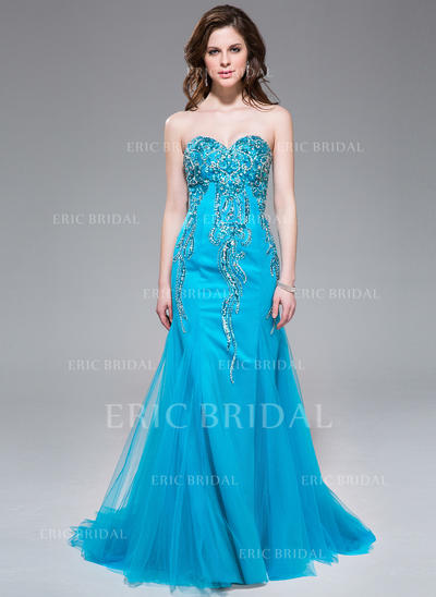 Trumpet/Mermaid Sweetheart Sweep Train Prom Dresses With Beading Sequins (018041024)