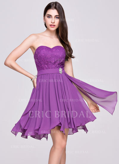 A-Line/Princess Sweetheart Asymmetrical Homecoming Dresses With Beading Cascading Ruffles (022068032)