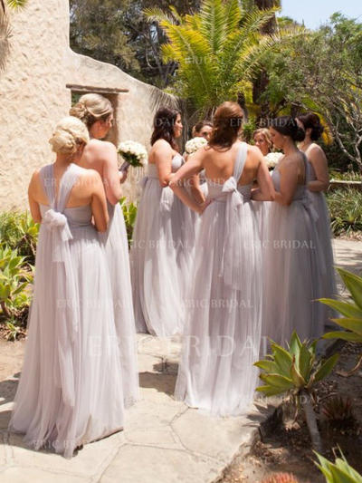 A-Line/Princess Sweetheart One-Shoulder V-neck Floor-Length Bridesmaid Dresses With Ruffle (007145072)