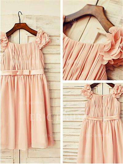 A-Line/Princess Square Neckline Knee-length With Ruffles/Pleated Chiffon Flower Girl Dresses (010212018)