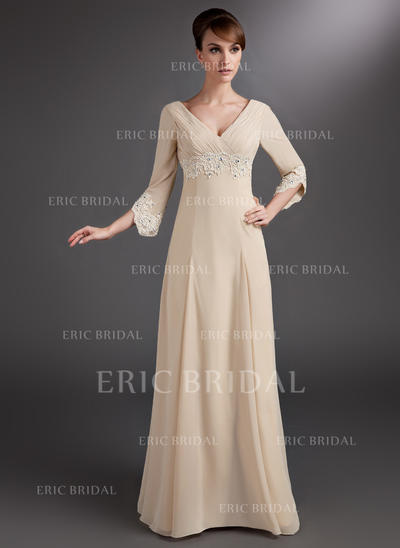 Empire Chiffon 3/4 Sleeves V-neck Floor-Length Zipper Up Mother of the Bride Dresses (008006084)