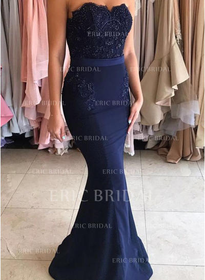 Trumpet/Mermaid Sweetheart Sweep Train Evening Dresses With Sequins (017145619)