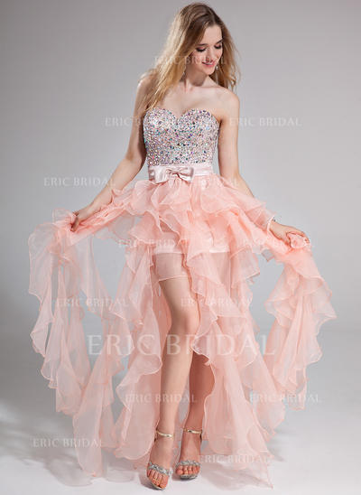 A-Line/Princess Sweetheart Floor-Length Prom Dresses With Beading Bow(s) Cascading Ruffles (018025274)