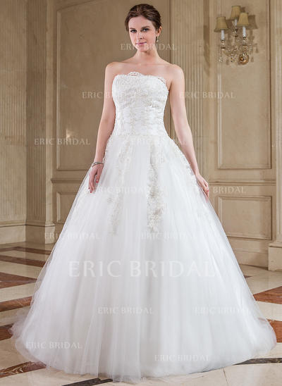 Simple Strapless Ball-Gown Wedding Dresses Chapel Train Tulle Sleeveless (002210413)