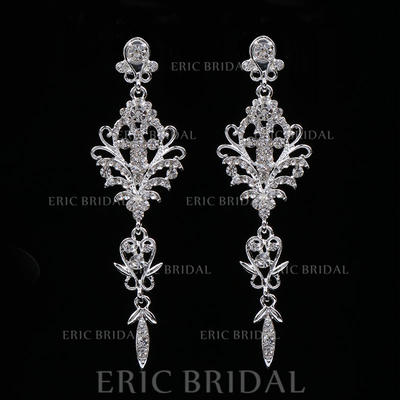 Earrings Alloy/Rhinestones Rhinestone Pierced Ladies' Wedding & Party Jewelry (011167887)