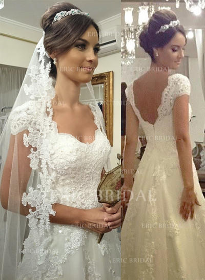 A-Line/Princess Sweetheart Court Train Wedding Dresses (002144865)