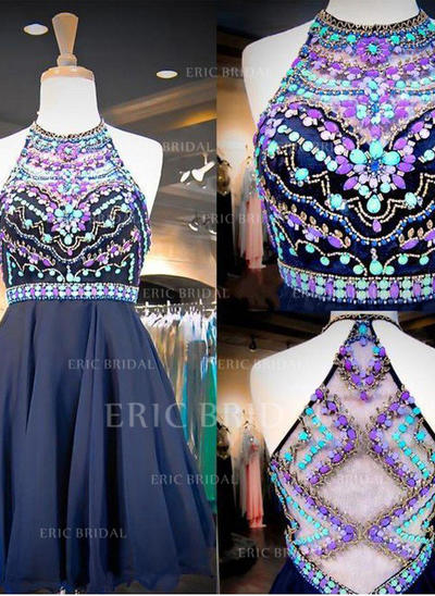 A-Line/Princess Scoop Neck Short/Mini Chiffon Homecoming Dresses With Beading (022212384)
