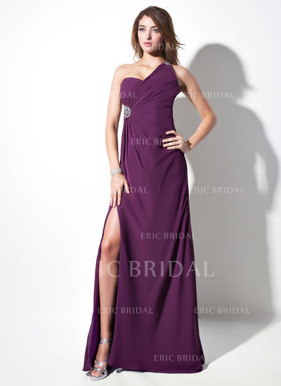 Sheath/Column One-Shoulder Sweep Train Evening Dresses With Ruffle Beading Split Front (017016057)