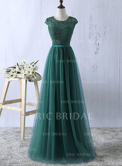 Delicate Tulle Evening Dresses A-Line/Princess Floor-Length Scoop Neck Sleeveless (017210896)