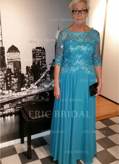 A-Line/Princess Chiffon 1/2 Sleeves Scoop Neck Floor-Length Zipper Up Mother of the Bride Dresses (008212709)