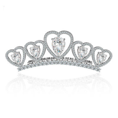 """Tiaras Wedding/Special Occasion/Outdoor/Party Copper/Zircon/Platinum Plated 1.18""""(Approx.3cm) 3.15""""(Approx.8cm) Headpieces (042155176)"""