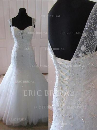 Trumpet/Mermaid Sweetheart Court Train Wedding Dresses With Beading Appliques Lace Sequins (002210849)