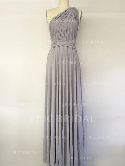 A-Line/Princess Chiffon Bridesmaid Dresses Ruffle One-Shoulder Sleeveless Floor-Length (007211674)