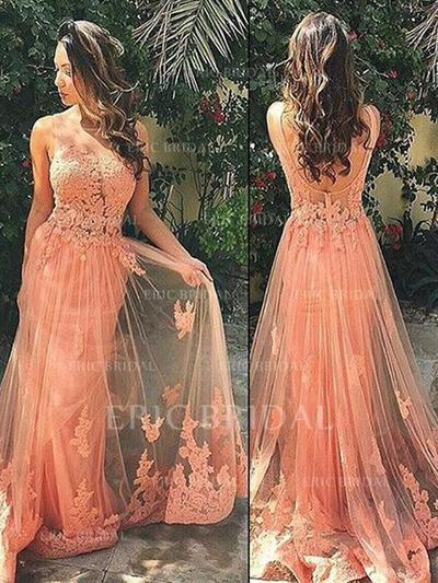 A-Line/Princess Sweep Train Prom Dresses Scoop Neck Tulle Sleeveless (018145878)