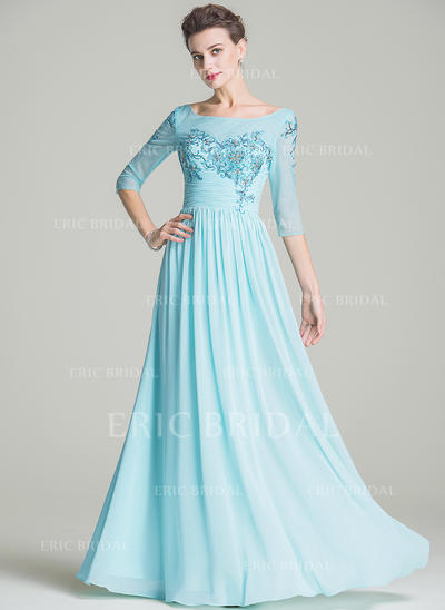 A-Line/Princess Chiffon 1/2 Sleeves Scoop Neck Floor-Length Zipper Up Mother of the Bride Dresses (008210676)
