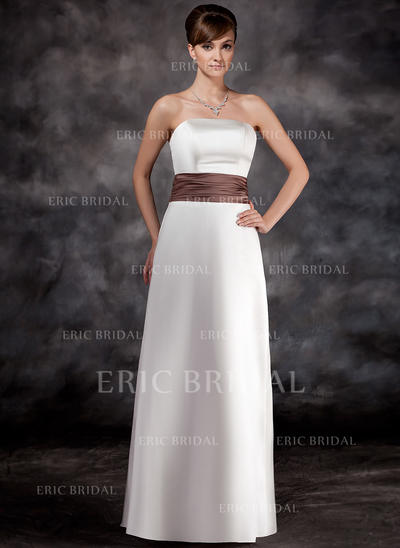 A-Line/Princess Satin Bridesmaid Dresses Ruffle Sash Strapless Sleeveless Floor-Length (007001774)