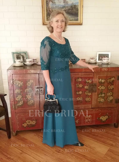 A-Line/Princess Chiffon 1/2 Sleeves Scoop Neck Floor-Length Zipper Up Mother of the Bride Dresses (008212704)