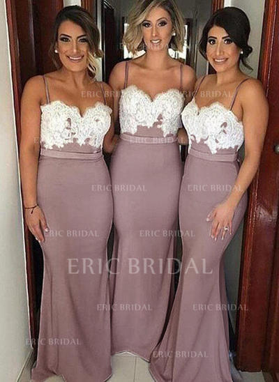 Trumpet/Mermaid Sweetheart Floor-Length Bridesmaid Dresses With Appliques (007211573)