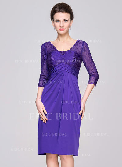 Sheath/Column Lace Jersey 1/2 Sleeves V-neck Knee-Length Zipper Up Mother of the Bride Dresses (008056832)