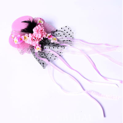 """Fascinators/Flowers & Feathers Wedding/Special Occasion/Party Silk Flower/Satin 3.94""""(Approx.10cm) 3.94""""(Approx.10cm) Headpieces (042154392)"""