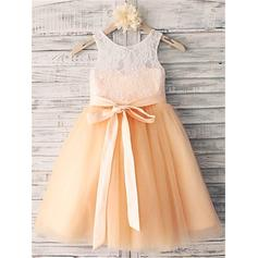 A-Line/Princess Scoop Neck Tea-length With Sash Tulle/Lace Flower Girl Dresses