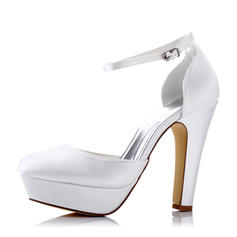 Women's Pumps Sandals Chunky Heel Silk Like Satin With Buckle Hollow-out Wedding Shoes