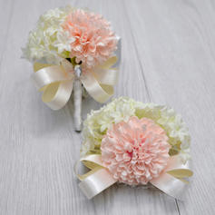 Wrist Corsage/Boutonniere Free-Form Wedding Silk linen With Flower/Bowknot Wedding Flowers