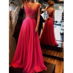 A-Line/Princess Scoop Neck Floor-Length Chiffon Evening Dresses With Appliques Lace