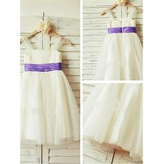 A-Line/Princess Square Neckline Knee-length With Pleated Tulle Flower Girl Dresses (010211994)