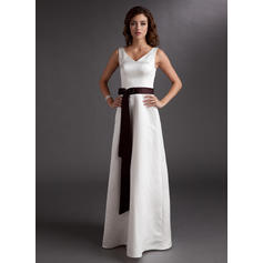 A-Line/Princess Satin Bridesmaid Dresses Sash Bow(s) V-neck Sleeveless Floor-Length (007001917)