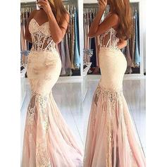 Trumpet/Mermaid Sweetheart Sweep Train Evening Dresses With Lace Beading