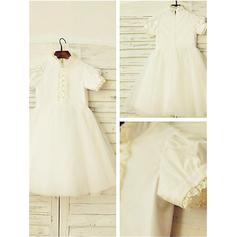 A-Line/Princess High Neck Tea-length With Lace Satin/Tulle Flower Girl Dresses (010212037)