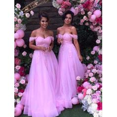 A-Line/Princess Tulle Lace Bridesmaid Dresses Off-the-Shoulder Sleeveless Floor-Length