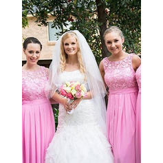A-Line/Princess Chiffon Lace Bridesmaid Dresses Ruffle Scoop Neck Sleeveless Floor-Length