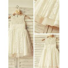A-Line/Princess Scoop Neck Knee-length With Pleated Lace Flower Girl Dresses (010211778)