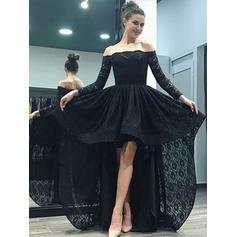 Luxurious Lace Evening Dresses A-Line/Princess Asymmetrical Sweep Train Off-the-Shoulder Long Sleeves