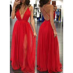 A-Line/Princess V-neck Floor-Length Tulle Prom Dresses