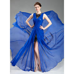 A-Line/Princess Scoop Neck Court Train Evening Dresses With Ruffle Split Front