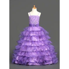 Princess Straps Ball Gown Flower Girl Dresses Floor-length Organza/Satin Sleeveless