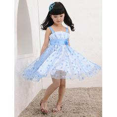A-Line/Princess Square Neckline Knee-length With Flower(s) Tulle Flower Girl Dresses (010211923)