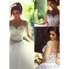 Ball-Gown Tulle Long Sleeves Scoop Floor-Length Wedding Dresses (002144587)