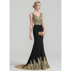 Trumpet/Mermaid V-neck Sweep Train Stretch Crepe Evening Dress (017116335)